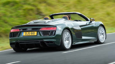 The Audi R8 Plus is 25kg lighter than the standard model and does 0-62mph in 3.3 rather than 3.6 seconds