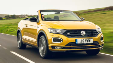 Volkswagen T-Roc Cabriolet driving - close up of front end