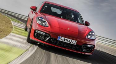 2020 Porsche Panamera GTS driving on racetrack
