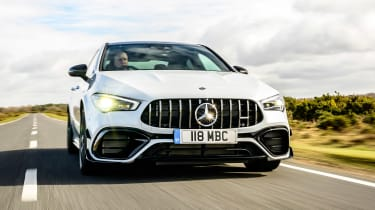 Mercedes-AMG CLA 45 saloon front tracking