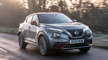 Nissan Juke SUV front 3/4 driving