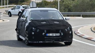 Hyundai i20 N development car - front on passing view