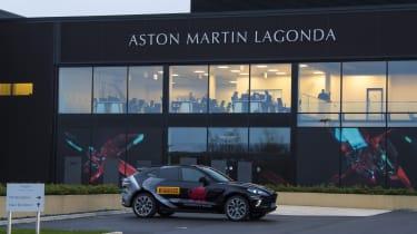 Aston Martin DBX prototype outside Aston Martin's Wales factory