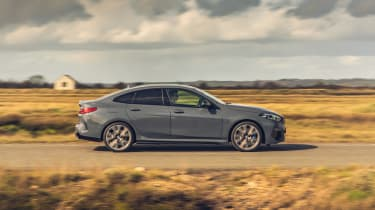 BMW M235i Gran Coupe saloon side panning