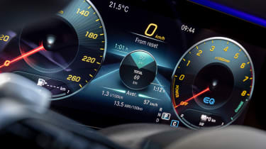 Mercedes E-Class E 300 e hybrid - digital instrument cluster close up