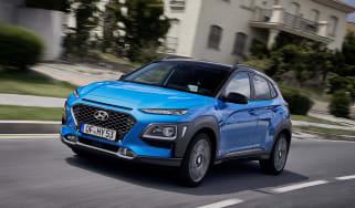 2019 Hyundai Kona Hybrid - front quarter view driving