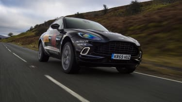 Aston Martin DBX prototype driving - close up