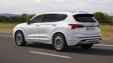 2020 Hyundai Santa Fe driving - rear view