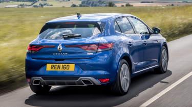 Renault Megane E-Tech hatchback rear 3/4 tracking