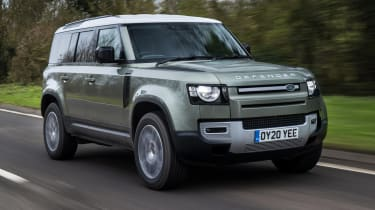 Land Rover Defender SUV front 3/4 tracking