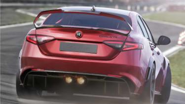 Alfa Romeo Giulia GTAm driving on track - rear view