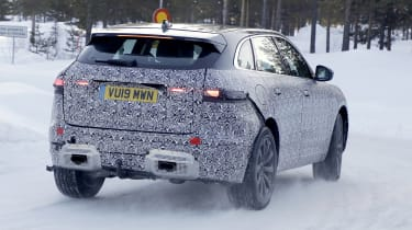 Jaguar F-Pace facelift in camouflage - rear view