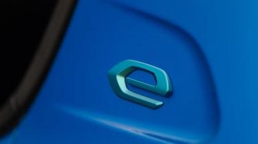 Peugeot e-208 hatchback 'e' badge