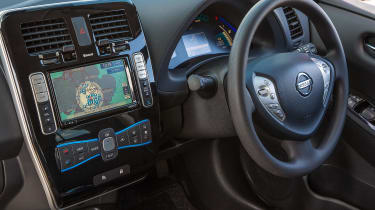The sat nav shows nearby charging stations and calculates if you have sufficient power to make your destination