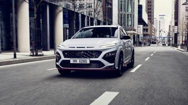 2021 Hyundai Kona N - front 3/4 view dynamic