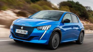 Peugeot e-208 hatchback front 3/4 driving