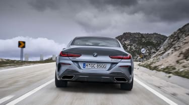 BMW 8 Series Gran Coupe - rear dynamic straight on shot