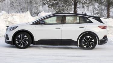2021 Volkswagen ID.4 SUV - winter testing side on view