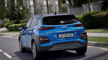 2019 Hyundai Kona Hybrid - rear quarter view driving