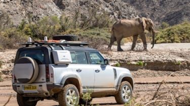 Land Rover Defender SUV elephant safari