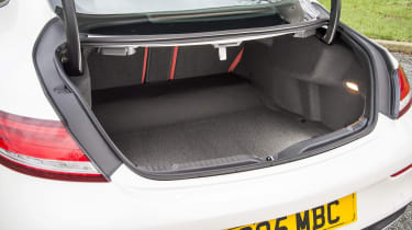 The C-Class Coupe has a boot measuring 400-litres, making it smaller than rivals