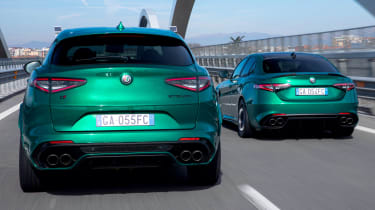 Alfa Romeo Giulia and Stelvio Quadrifoglio driving - rear view
