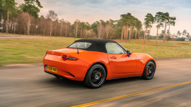 Mazda MX-5 30th Anniversary driving with the roof up