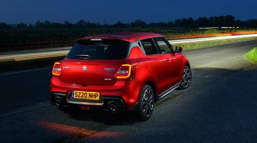 Suzuki Swift Sport mild-hybrid at night - rear view