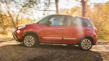 Fiat 500L driving off-road - side view