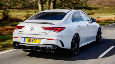 Mercedes-AMG CLA 45 saloon rear 3/4 tracking