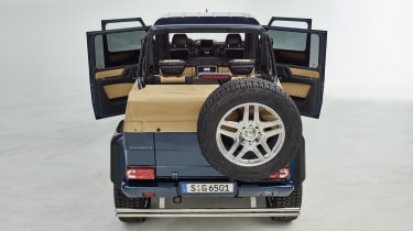 While those in the rear can enjoy open-air thrills, the front seats are covered by a fixed roof