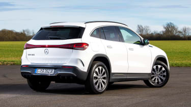 Mercedes EQA SUV review rear 3/4 static