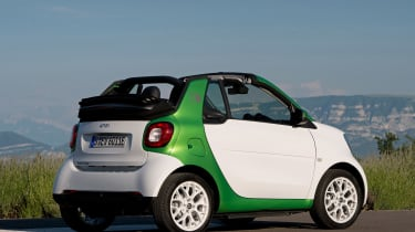 The ForTwo ED Cabrio is well-equipped as standard, with leather upholstery and heated seats, along with reversing sensors
