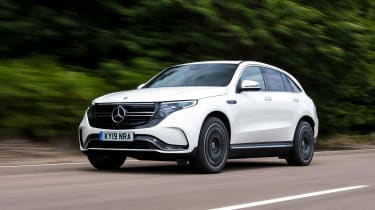 Mercedes EQC SUV front 3/4 driving