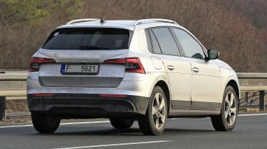 Skoda Kamiq in silver - rear view driving