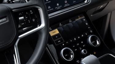 2021 Range Rover Velar P400e plug-in hybrid climate control screen
