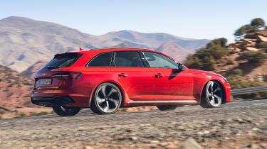 Audi RS4 Avant estate rear 3/4 action