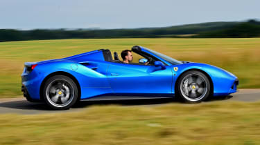 Ferrari 488 Spider convertible side tracking