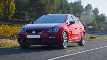 Red SEAT Leon FR driving
