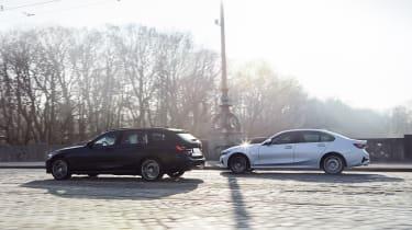 2020 BMW 330e Touring and 330e Saloon - rear 3/4 view dynamic