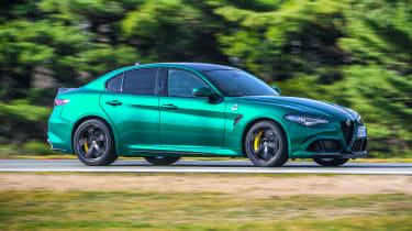 Alfa Romeo Giulia Quadrifoglio driving - side view
