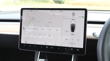 Tesla Model 3 - interior touchscreen sat nav controls