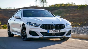 BMW 8 Series Gran Coupe saloon front 3/4 driving