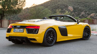 The Audi R8's rivals include the convertible versions of the Lamborghini Huracan, the Jaguar F-Type and the Mercedes-AMG GT