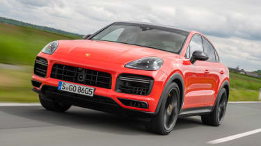 Porsche Cayenne Coupe SUV front tracking