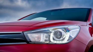 It might have a fairly conservative design, but LED daytime running lights help give the Rio a modern look