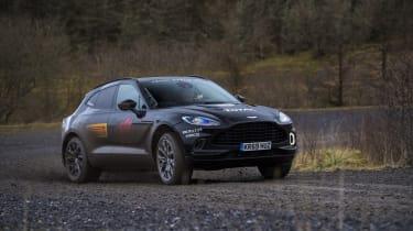 Aston Martin DBX prototype cornering on gravel