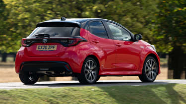 Toyota Yaris hatchback rear 3/4 driving