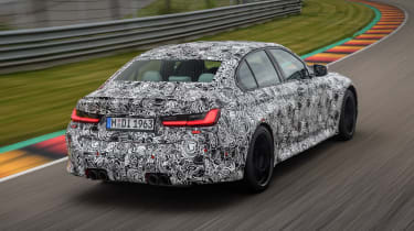2020 BMW M3 saloon prototype - rear 3/4 view passing