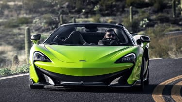 McLaren 600LT Spider convertible nose action